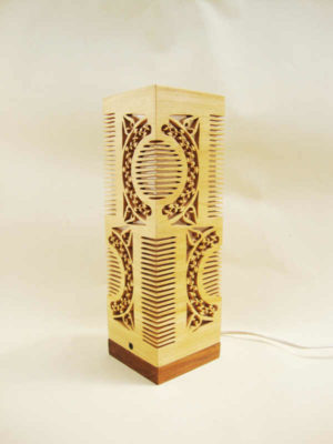 Rubberwood Comb Table Lamp by The Beehive India