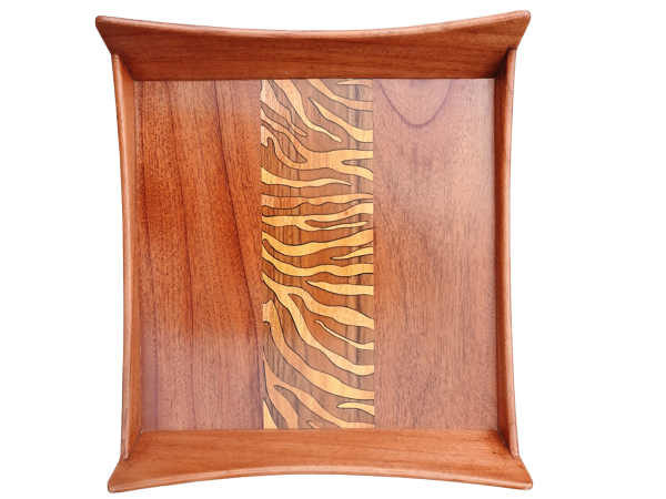 Wood Inlay Wooden Tray by The Beehive India