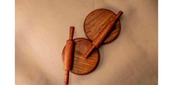 Wooden Rolling Board & Rolling Pin by The Beehive India