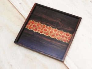 Handmade Wooden Inlay Tray by The Beehive India