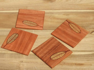 Wooden Leaf Inlay Coasters by The Beehive India