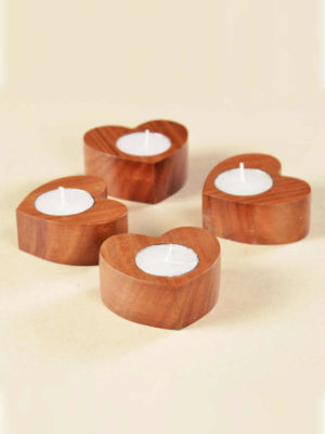 Wooden Plain Heart Tealights