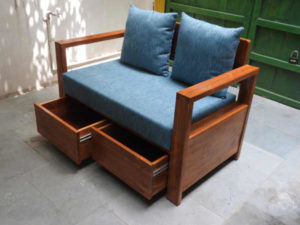 Wooden Sofa with Fabric by The Beehive India