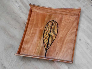 Handmade Wood Inlay Tray by The Beehive India
